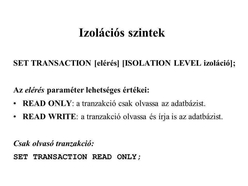Izolációs szintek SET TRANSACTION [elérés] [ISOLATION LEVEL izoláció];
